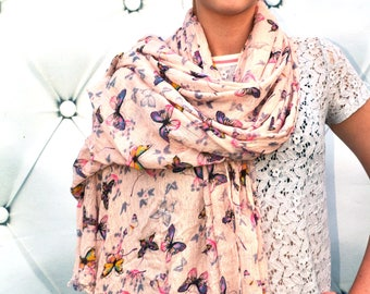 Butterfly pink scarf Cotton Scarf wrap Butterflies Print Ladies Cover Up summer beach Wrap Oversized neck scarf Mothers Day gift