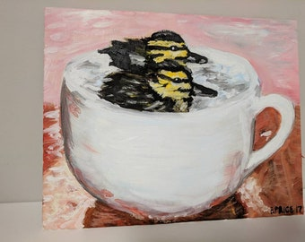 "Ducks in a Cup original oil painting 8""x10"""