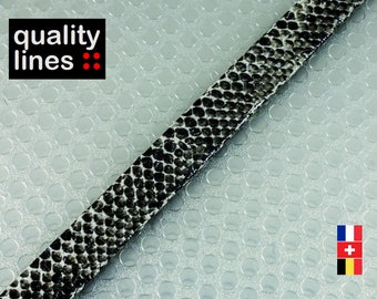 X 1 M - 10mm flat faux leather / 1.50 mm black snake - soft faux leather