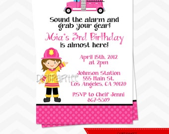 Girls Firefighter Birthday Invitation