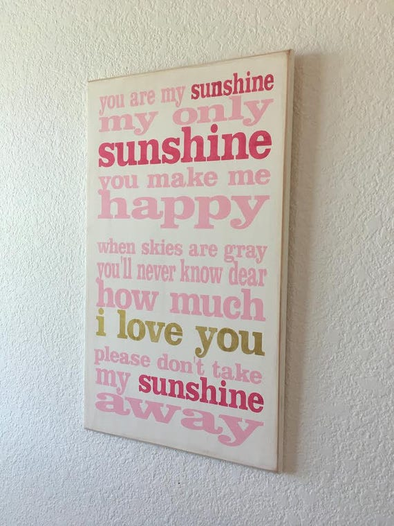 YOU are MY SUNSHINE - Pink - Hot Pink - Gold  on white -  Painted wooden sign - Hand Painted sign - Wood sign - Girls Room - Sunshine sign