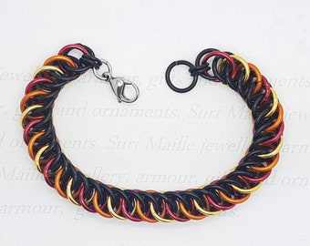 Chain maille bracelet in black and fire colours
