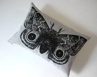 IO Moth silk screened cotton canvas throw pillow 12x18 black on gray