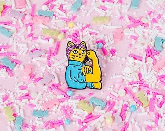 Feminist Cat Enamel Pin with rubber back // lapel pins, rosie rivetor pin, feminist pin
