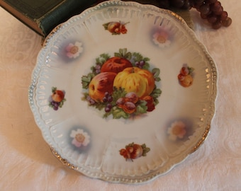 "Antique Schwarzenhammer Porcelain 8.25"" Plate adorned with Fruits"