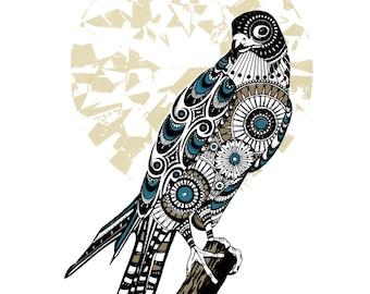 Screen print, hand printed art, bird print, bird of prey art, peregrine falcon, The Tranquility of Solitude