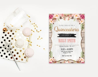 Quinceanera word invite,INSTANT DOWNLOAD - Edit Yourself in Word. Template Editable Text Microsoft Word.DIY You Print.