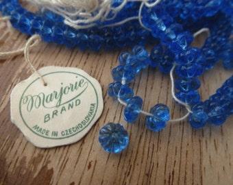 RARE 12 Vintage Czech Marjorie Brand Transparent Blue 6mm Flower Glass Beads C37
