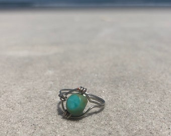 Green Turquoise Wire Wrapped Ring