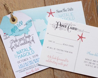 Mayan Invitation Etsy - Luggage tag save the date template