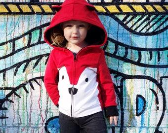 2T Fox red Hoodie with ears, baby zip Jacket, Fox Jacket, Animal Sweatshirt, Animal Hoodie ,Toddler jacket , medium weight , Animal Jacket