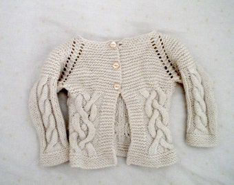 Celtic jacket Baby Jacket Cable Cardigan top down PDF knitting pattern