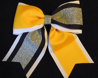 Yellow Gold Black White and Silver Glitter Hairbow