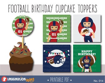Red and Blue Football Birthday Party Cupcake Toppers Party Circles PRINTABLE / Party Printables / Football Players Birthday Set / No. 014
