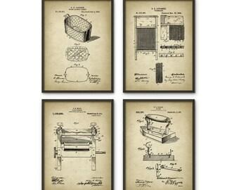 popular items laundry room decor. Laundry Patent Print Set Of 4 - Vintage Wall Art Room Decor Popular Items