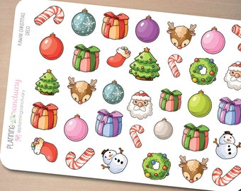Kawaii Christmas Deco Planner stickers Perfect for Erin Condren, Kikki K, Filofax and all other Planners