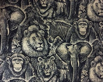 """Jungle Animal Print Jungle Etched Animals Allover tan - Lion, Monkey, Tiger, Elephant, Zebra 100% cotton Fabric by the yard 36""""x43"""" (SC1034)"""