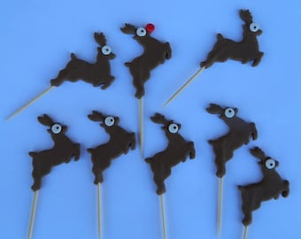 12 edible CHRISTMAS REINDEER PICKS rudolph cake cupcake decoration novelty topper cute gift xmas party birthday holiday cookie