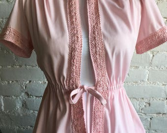 40s Inspired Pink Blouse With Crochet Accents