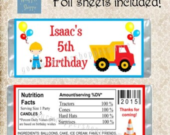 CONSTRUCTION TRACTORS Inspired Candy Bar Wrappers with Foil Sheets Party Favors Custom Personalized