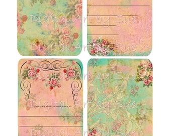 Instant Digital Download - Aged Note cards No. 955 - Quality Printables - Scrapbook - Crafts - Tags