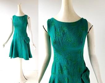 60s Brocade Dress | Nymphaea | 1960s Green Dress | XXS