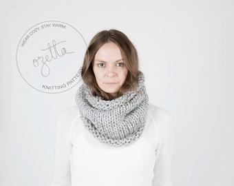Knitting Pattern / Simple Chunky Cowl, Scarf, Tube Cowl / THE KODIAK Cowl
