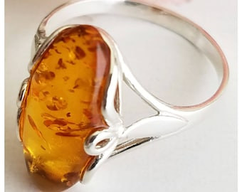Amber Ring - Sterling Silver Ring - Baltic Amber ring - Amber Jewelry - Silver ring - Genuine Amber Ring - Real Amber ring - Free Shipping