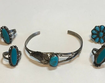 Southwestern Navajo Signed Sterling Silver Turquoise Cuff & Ring