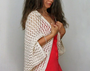 "Crochet Shrug PATTERN / Summer Cardigan / Lacy Cover Up / Made in Canada / PDF / ""Lattice Summer Shrug"""