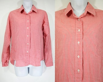 7 Dollar Sale---Vintage 70's ORVIS Red & White Checker Button Down Blouse Size 10