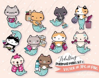 Adulting Purrmaids Clip Art Set, DIY Planner Stickers Designs, Vector Clipart Graphics, Cute, Kawaii Commercial Use, Chibi Cats, Mermaids