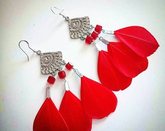 New! Royal red Bohemian feather earrings with crystal beads, summer party fashion accessories