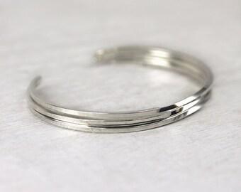 3 Square Cuff Bracelets in Sterling Silver, Simple Cuff Bangles, Custom Sized