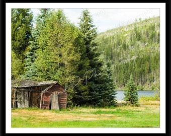 Cabin photo, old rustic building picture, shack homestead, antique, cowboy western, fine art nature, Low SHIPPING cost, lots of sizes