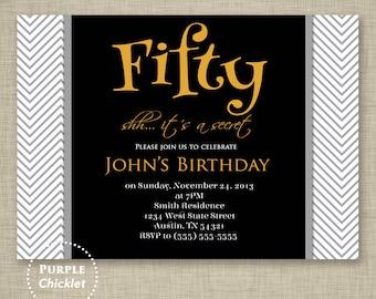Masculine Invitation Surprise 50th Birthday Invite Retirement Party Invite Chevron Gold Gray Black Adult Party Invite 5x7 Digital JPG File68