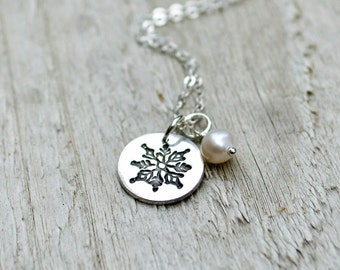 Small Snowflake Necklace - PMC, Fine silver, Sterling Silver, White Freshwater Pearl, Winter Jewelry, Holiday Jewelry Gift Under 40