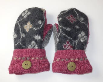 Upcycled Sweater Mittens - Fleece Lining - Wool