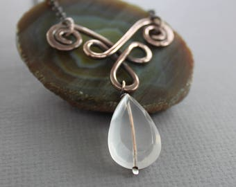 Celtic copper necklace with faceted rose quartz stone - Quartz necklace - Celtic necklace - Drop pendant - Copper gemstone necklace - NK058