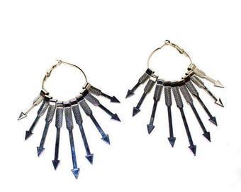 Silver arrow hoop earrings LAST ONE