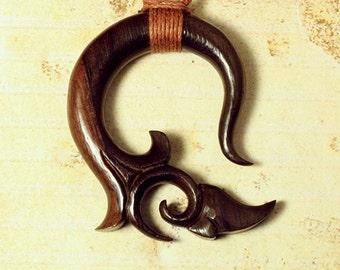 Filix Pendant, Tribal Jewelry, Handmade, Organic, Wooden Necklace - P04