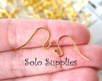 20 Shiny Gold Color Ball Fish Hook Ear Wires