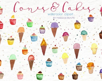 Watercolor Clip Art - Cones, Cupcake - Personal Use - Mini - Sprinkles - Fun - Yummy - Ice Cream - Frosting - Instant Download - Dessert