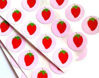Strawberry Stickers Pink - 54 labels 0.75 inch round - craft projects, scrapbooking projects, birthday