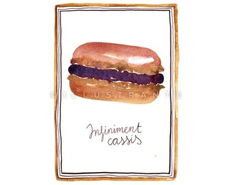 Small art prints, macaron art print, macaron print, 5x7 art print, French macaron, French macaroons, macaroon print, French kitchen artwork.