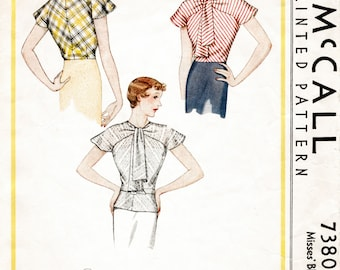 1930s 30s pattern misses women's  blouse dolman sleeves art deco cut Bust 34 repro vintage sewing
