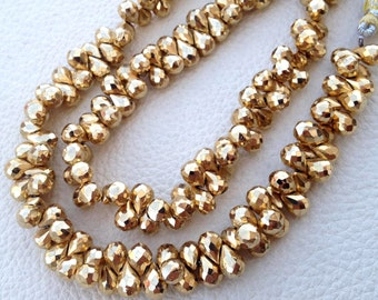 Brand New, GOLDEN PYRITE Micro Faceted Drops,7-8mm,Full 8 Inch Strand,Amazing Quality,Finest Item