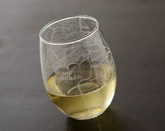 San Francisco Maps Stemless Wine Glass