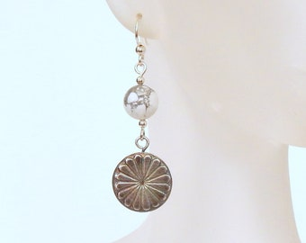 Southwestern Concho Dangle Earrings Concho Earrings Natural Gemstones Concho Boho Earrings Sterling Silver Concho Jewelry Handmade Jewelry