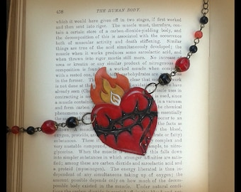Flaming Heart Necklace Leather Necklace Red Necklace Pinup Necklace DOTD Necklace Tattoo Necklace Sacred Heart Gothic Necklace Gift for Her